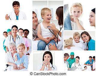 collage, situationen, medizin