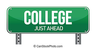 College direkt vor dem grünen Schild.