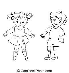 coloring., muster, boy., schwarzes mädchen, bunte, abbildung, weißes
