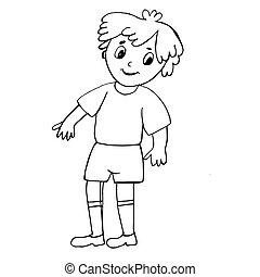 coloring., weißes, boy., muster, abbildung, schwarz, bunte