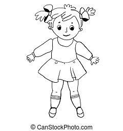 coloring., weißes, girl., muster, abbildung, schwarz, bunte