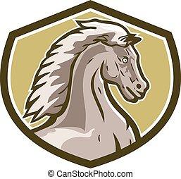 Colt Pferdekopf seitlicher Schildretro.