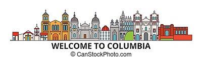 Columbia skilines, columbian flat dünne Linien Icons, Wahrzeichen, Illustrationen. Columbia Cityscape, kolumbianische Reisestadt-Vektorbanner. Urban Silhouette