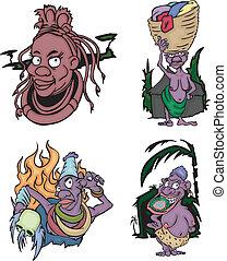 Comic-African-Aborigines-Frauen