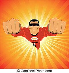 comic-like, super-hero, rotes