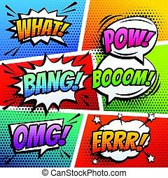 Comic Sound Effekt Rede Blas Pop Art in Vektor Cartoon Stil.