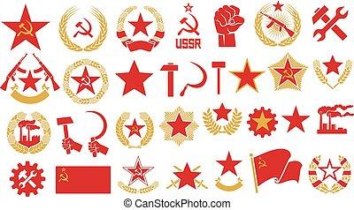 Communismus und Sozialismus Vektor Ikonen gesetzt (Geist, Faust, Stern, Hammer, Sichel, UdSSR-Star, Kranz von Weizen, automatisches Gewehr, Fabrik, sowjetisches Emblem).