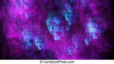 Computer erzeugte Bilder von surrealen Vampiren.