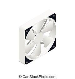 Computer-Fan isometrische detaillierte Ikone.