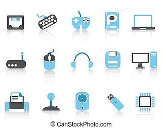 Computer & Geräte Icons blaue Farbe.