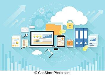Computer-Gerätedaten Cloud Storage-Flachbild.