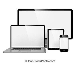 Computer, Laptop und Telefon.