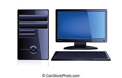 Computer mit Monitor und Tastatur.