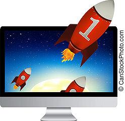 Computer mit roten Raketen