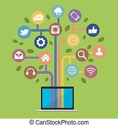 Computer mit sozialen Medien-Ikonen