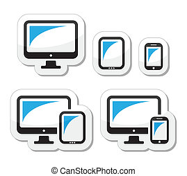 Computer, Tablet, Smartphone Icons.