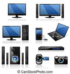 Computer und Elektronik-Icons.
