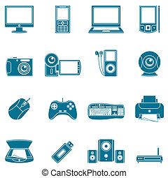 Computer und Medien-Ikonen.