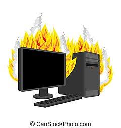 Computerfeuer isoliert. Brennender Computer. Data Prozessor Vector