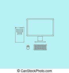 Computerkoffer mit Monitor, Tastatur und Maus, Vektor Icon.