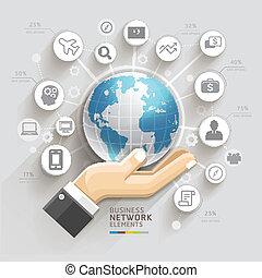 Computernetzwerk. Business Hand mit globale Vorlage. Kann für Workflow-Layout, Banner, Diagramm, Web-Design, infographische Vorlage verwendet werden.