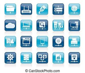 Computernetzwerk und Internet-Icons.
