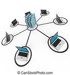 Computernetzwerke mit Laptops, Archiven oder Datenbank abschaffen.