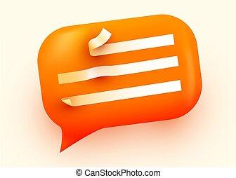 concept., blase, orange, vortrag halten , glänzend, kommunikation, illustration., sozial, vernetzung