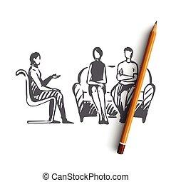 concept., hand, problem, psychologe, therapie, paar, freigestellt, gezeichnet, vector., beziehung