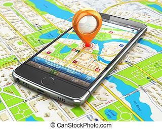 concept., map., gps, schifffahrt, smartphonewith, beweglich, stadt, reise, stift