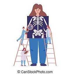 concept., menschliches skelett, jährlich, voll, prüfung, gesundheit
