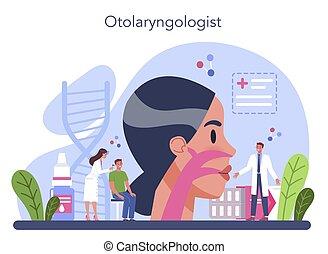 concept., otorhinolaryngologist, doktor, hno, idee, verarbeitung
