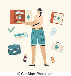 concept., weibliche , stellen, lagerung, flaschen, sorgfalt, drogen, regal, kästen, medikation, zeichen, medizin, medizinprodukt, junger, pillen