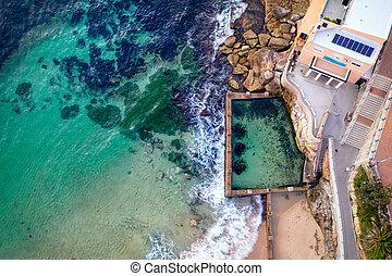 Coogee beach and ross jones pool aerial views.