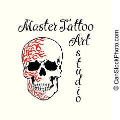 Cooles Retro-Stil Emblem. Tattoo-Studio-Schild.