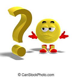 Cooles und lustiges Emoticon hat ein Fragezeichen