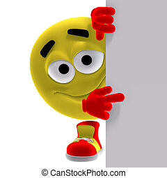 Cooles und lustiges gelbes Emoticon sagt, sieh her