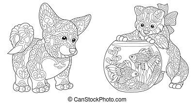 Corgi Hund und Kätzchen