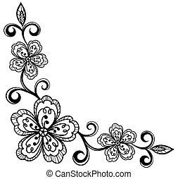 Corner-Ornamental-Lace-Blumen. Bla