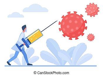 coronavirus, begriff, kämpfen, zeichen, vektor, doktor, wohnung, abbildung