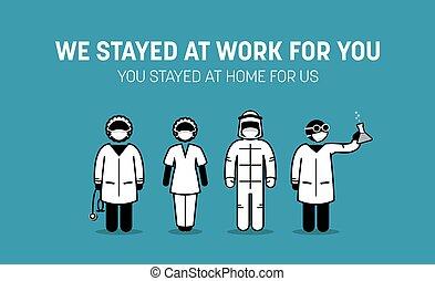 coronavirus, frontliners, kampf, medizin, personal, outbreak., arbeiter, gegen, daheim, drängen, doktor, krankheit, öffentlichkeit, aufenthalt, krankenschwester, virus, covid-19