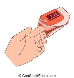 coronavirus, puls, finger., zeichen, covid-19.vector, verringert, vorrichtung, digital, pneumonia, messen, abbildung, notfall, oxygenierung, oximeter, karikatur, wohnung, sauerstoff, verursacht, saturation., beispiel