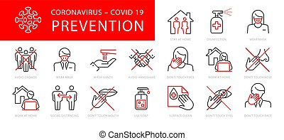 coronavirus, satz, prävention, abbildung, vektor