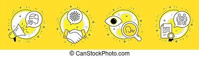 coronavirus, set., gemeinschaftsarbeit, angestellte, zeichen., vektor, wirklichkeit, heiligenbilder, übung, augmented, atmen