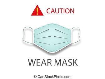 coronavirus, vektor, 19, tragen, maske, freigestellt, ikone, chirurgisch, weißer hintergrund, schutz, achtung, covid, begriff, maske