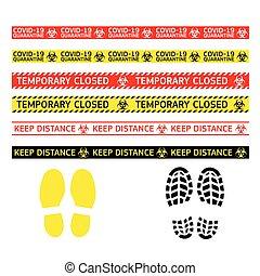 coronavirus, warnung, art, zeichen & schilder, quarantäne