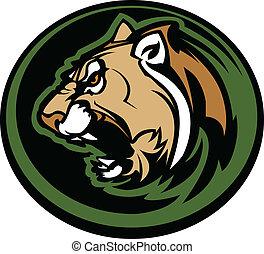 Cougar mascot Kopfvektorgrafik