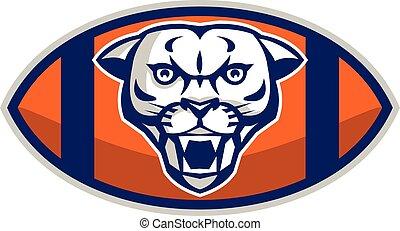Cougar Mountain Lion Football Ball Retro.