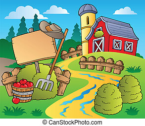 Country-Szene mit roter Scheune 5