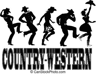 Country-Western Dance Silhouette ba.